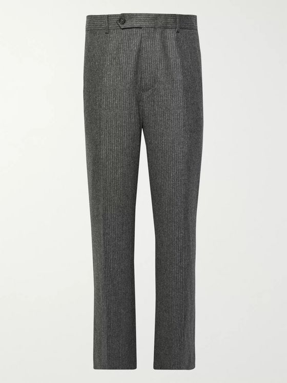 Helmut Lang Wide-Leg Pinstriped Virgin Wool-Blend Trousers