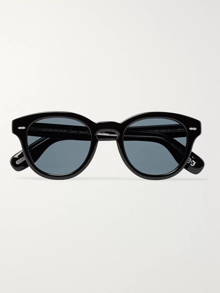 Oliver Peoples Cary Grant Round-Frame Tortoiseshell Acetate Polarised Sunglasses