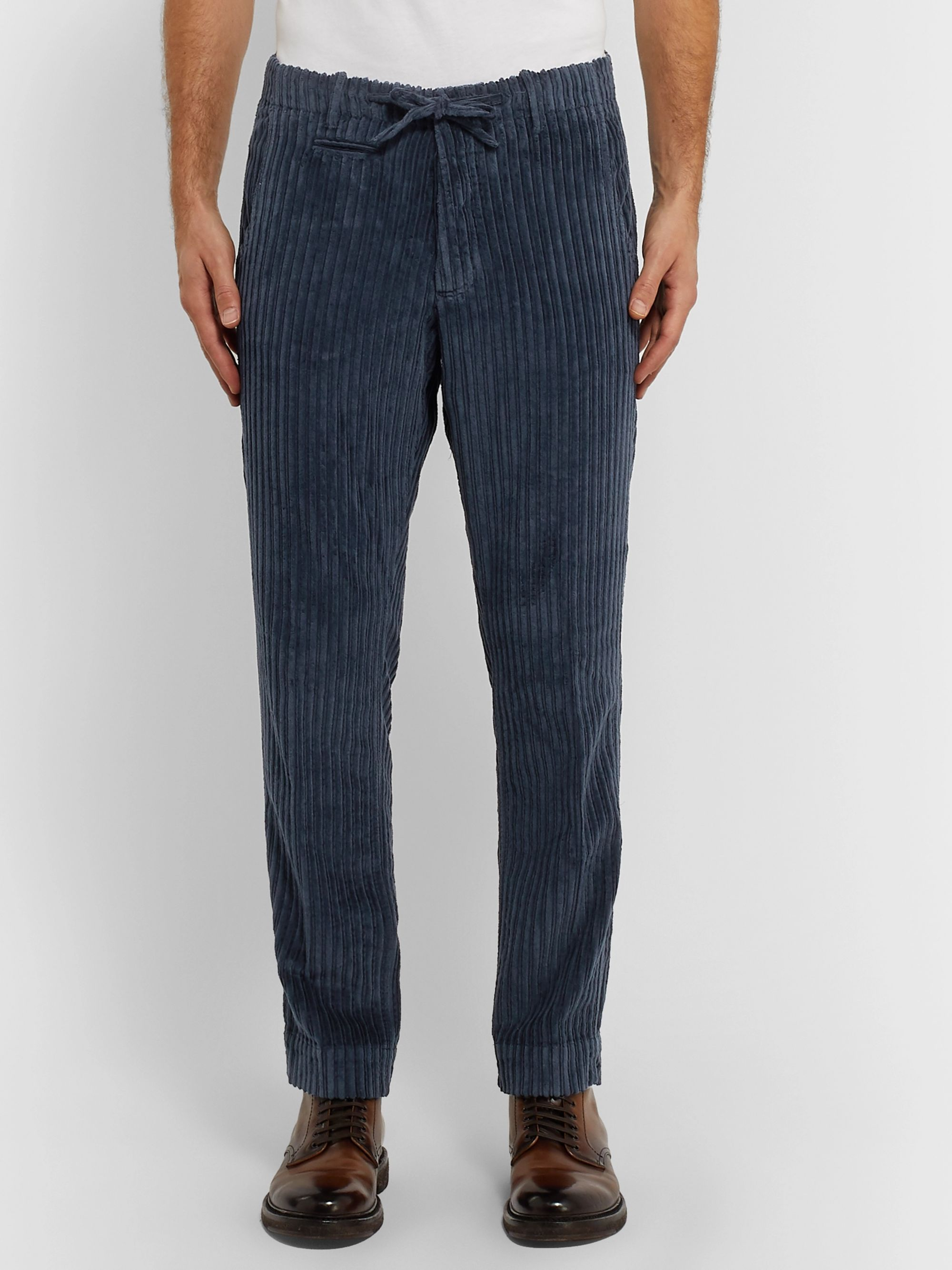 MAN 1924 Navy Tomi Cotton-Corduroy Drawstring Trousers