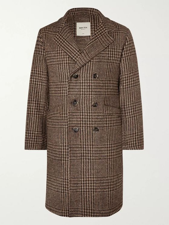 MAN 1924 Double-Breasted Prince of Wales Checked Wool Overcoat