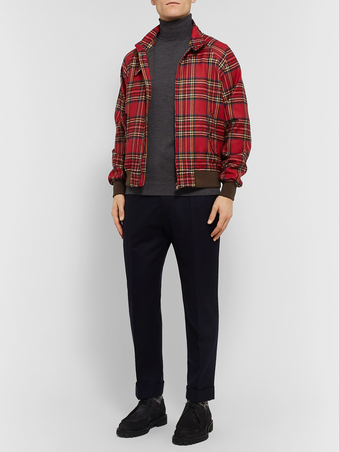 Man 1924 Slim-fit Checked Wool-blend Blouson Jacket In Red
