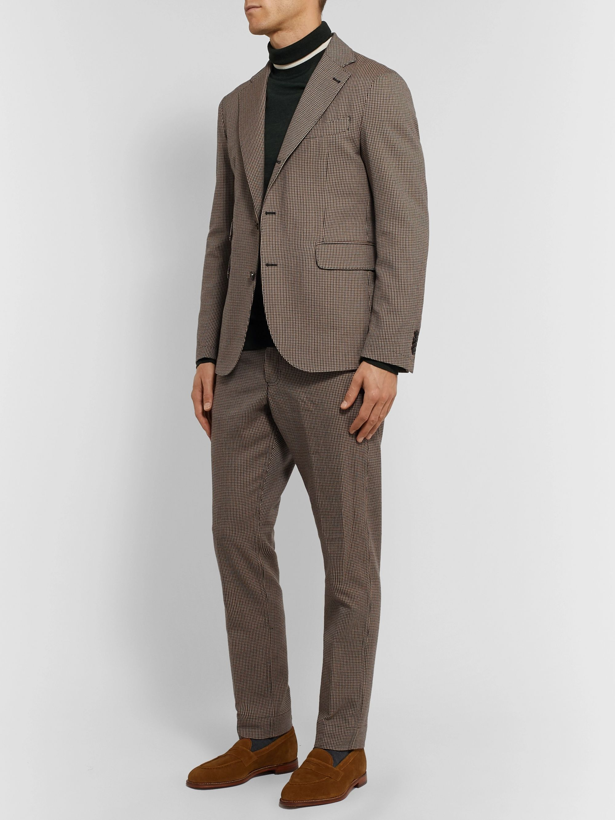 MAN 1924 Brown Tomi Slim-Fit Tapered Puppytooth Wool and Cotton-Blend Suit Trousers