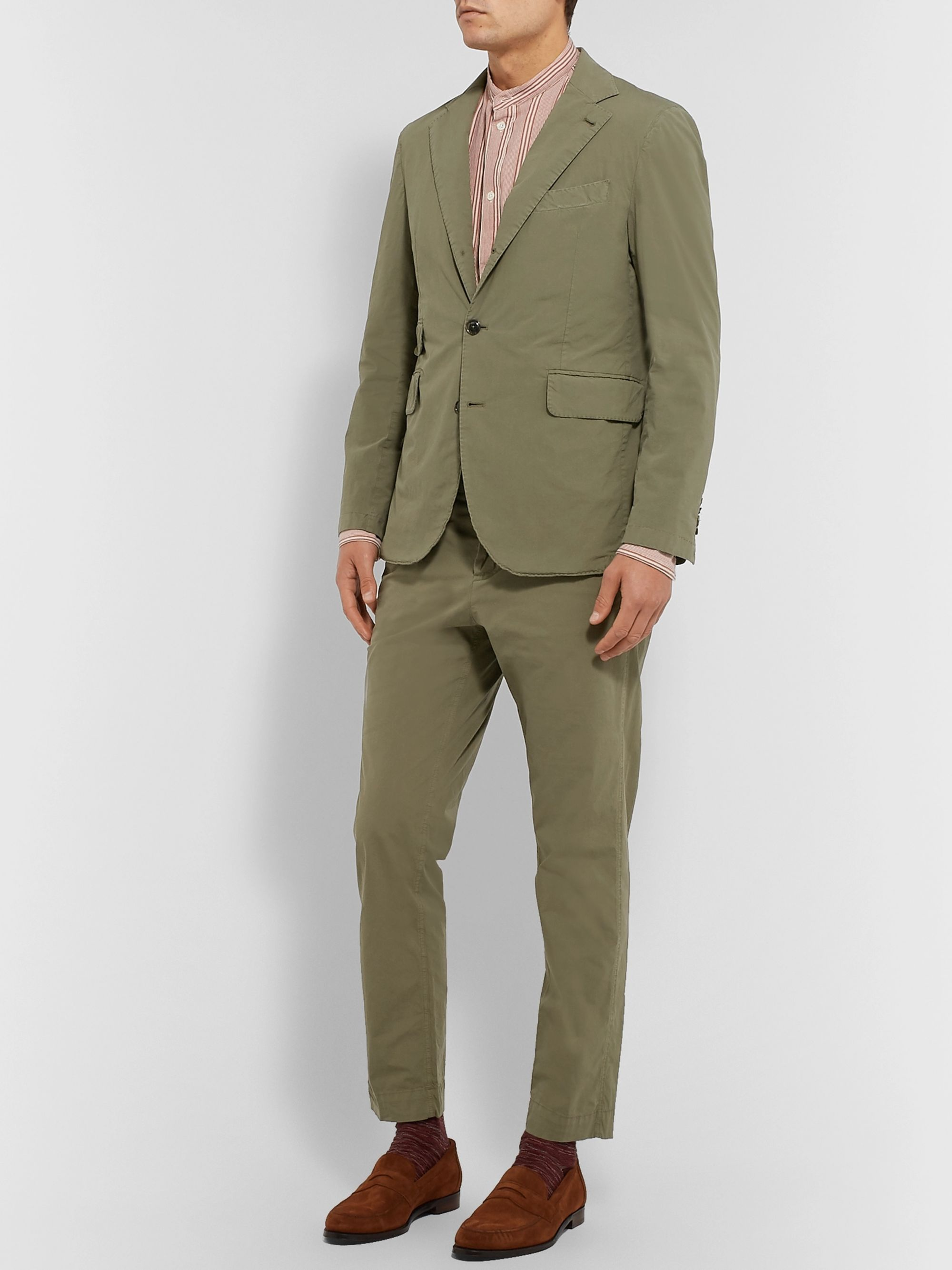 MAN 1924 Olive Kennedy Slim-Fit Unstructured Stretch-Cotton Suit Jacket