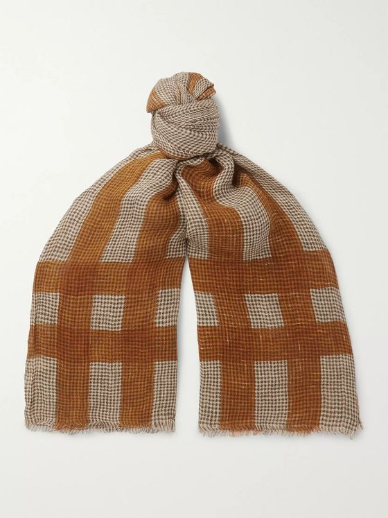 MAN 1924 + LOVAT&GREEN Checked Puppytooth Linen Scarf