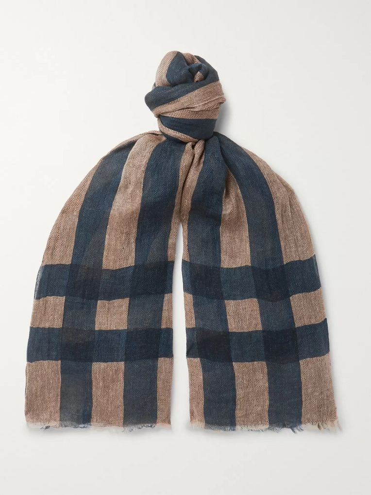 MAN 1924 + LOVAT&GREEN Striped Herringbone Linen Scarf