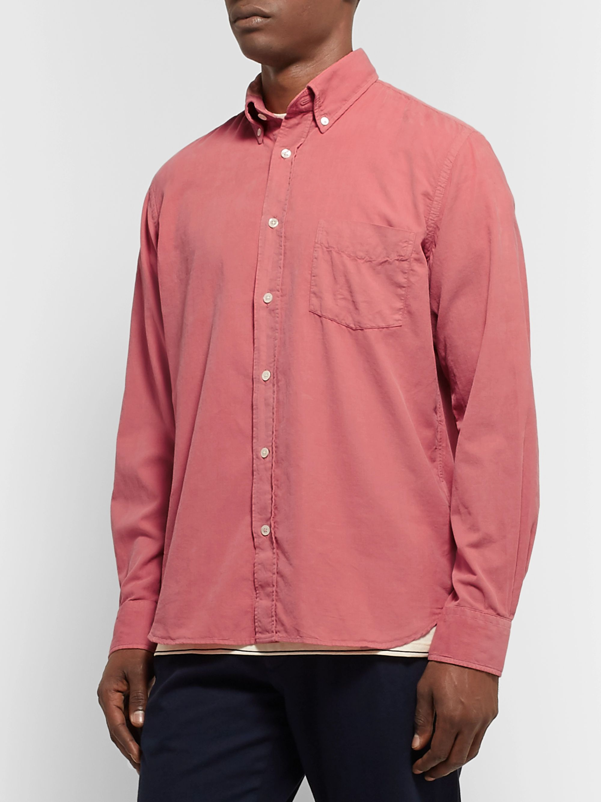 Hartford Button-Down Collar Cotton-Corduroy Shirt