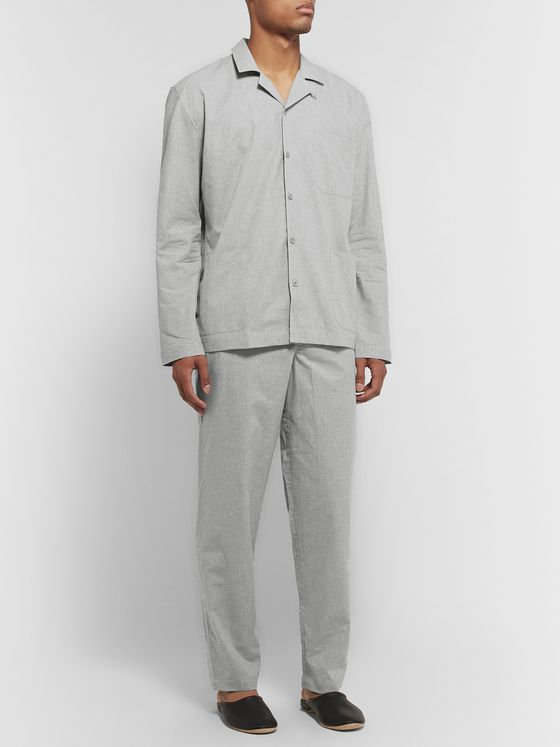 Sunspel Mélange Cotton-Poplin Pyjama Trousers