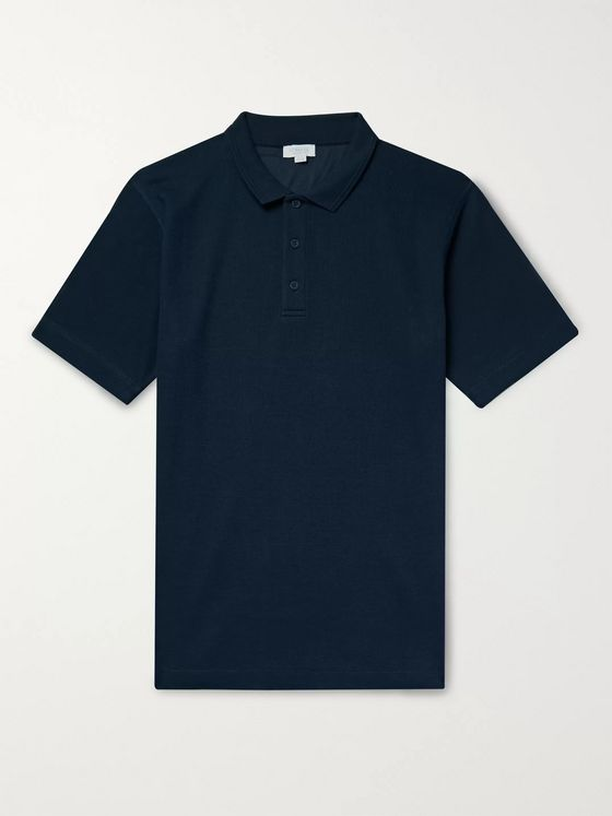 Sunspel Slim-Fit Waffle-Knit Cotton Polo Shirt