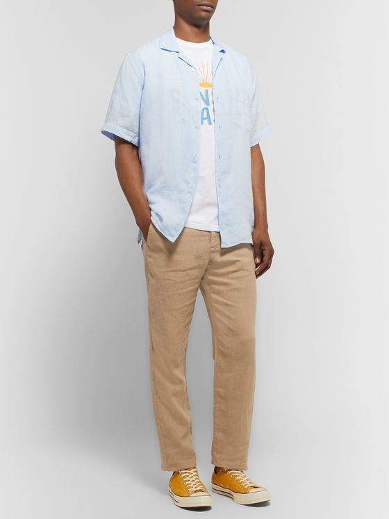 Hartford Palm Camp-Collar Linen Shirt