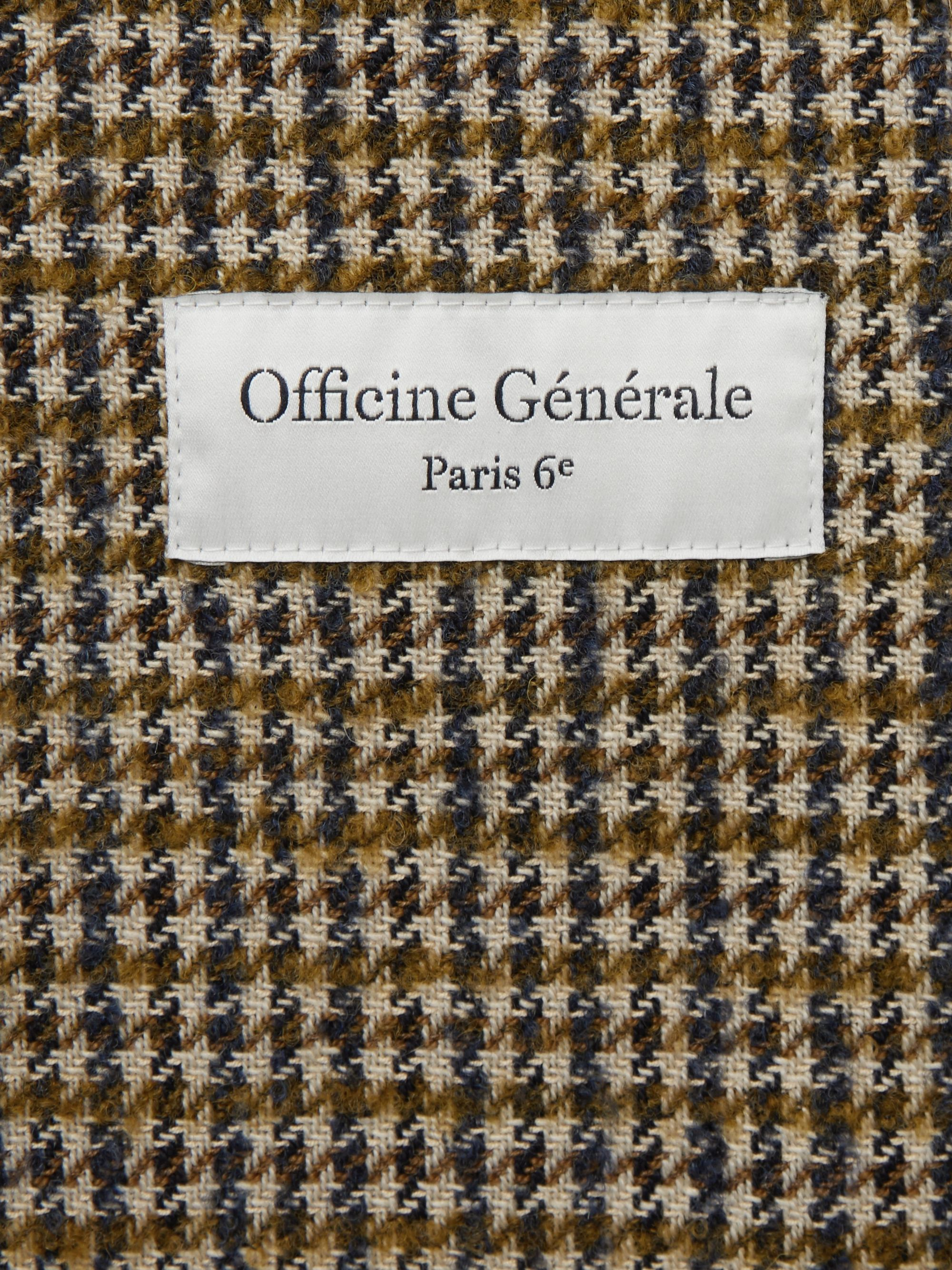 Officine Generale Brown Slim-Fit Unstructured Houndstooth Wool-Blend Blazer
