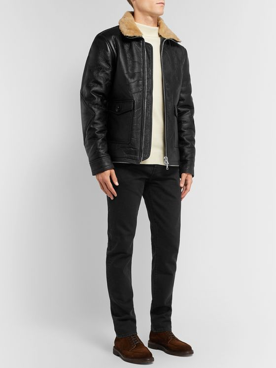 Officine Generale Clyde Shearling-Lined Leather Aviator Jacket
