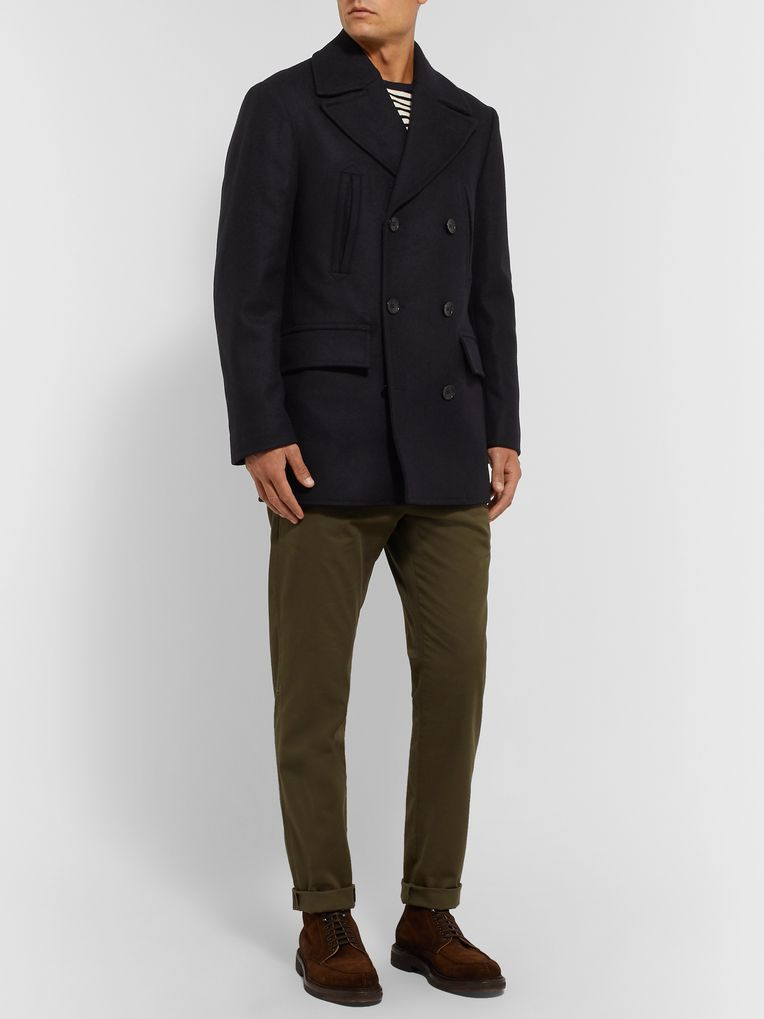 Officine Generale Edward Wool and Cashmere-Blend Peacoat
