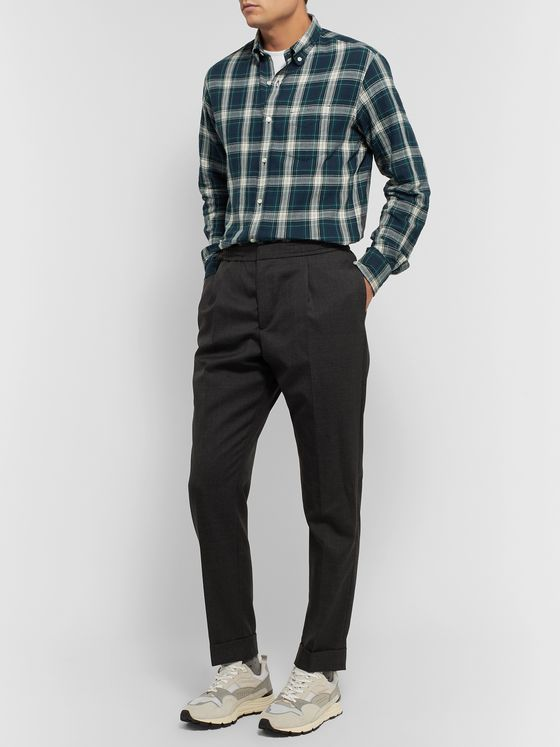 Officine Generale Button-Down Collar Checked Cotton Shirt