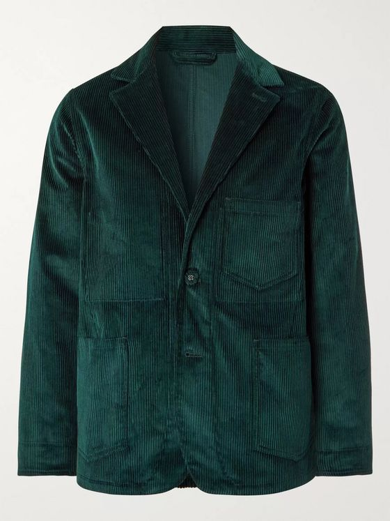 Officine Generale Dark-Green Aris Cotton-Corduroy Suit Jacket