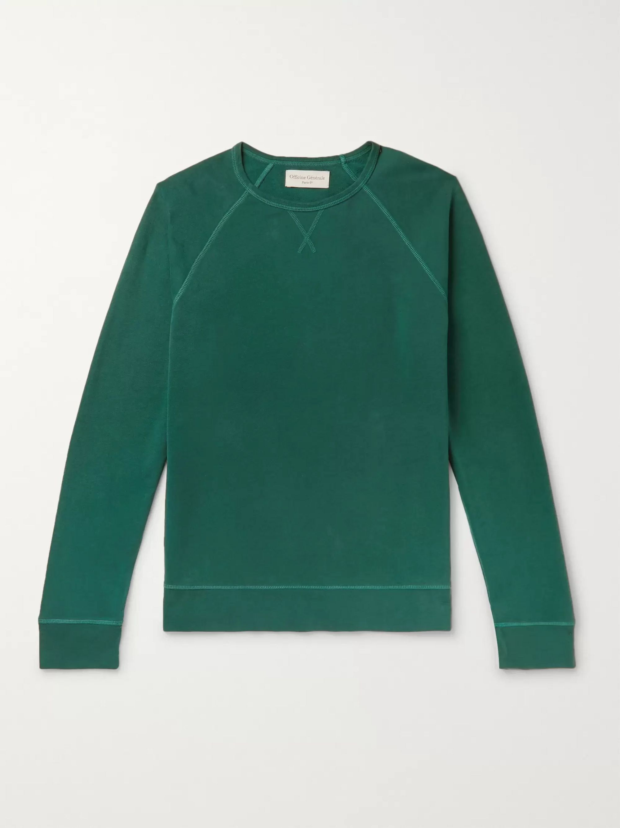 Officine Generale Garment-Dyed Fleece-Back Cotton-Jersey Sweatshirt