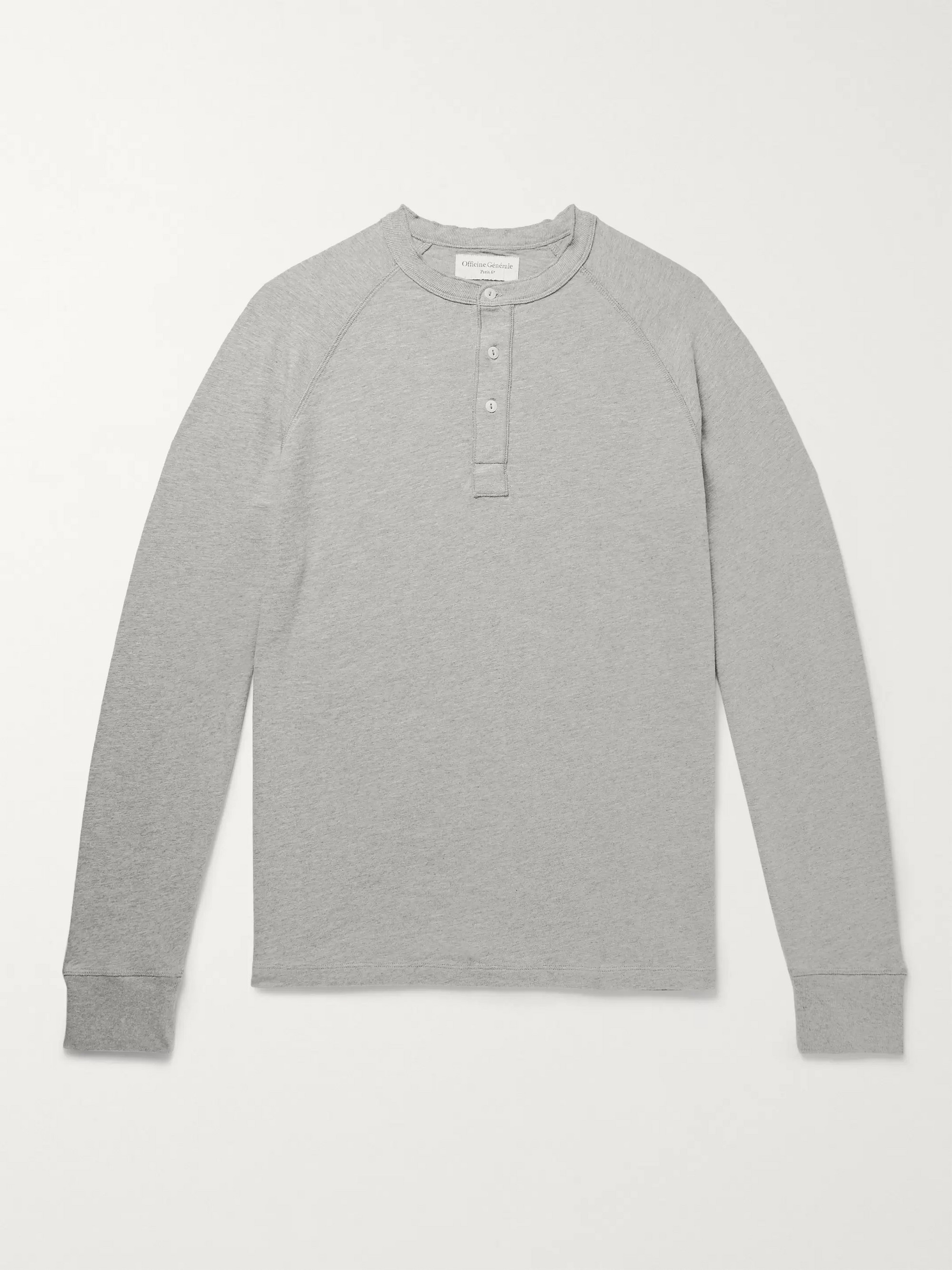 4bcb26e458e5 Gray Mélange Loopback Cotton-Jersey Henley T-Shirt | Officine ...
