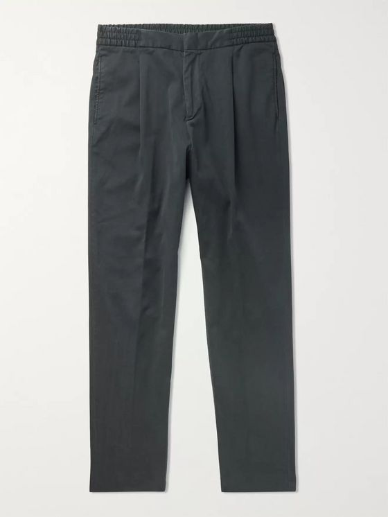 Officine Generale Drew Tapered Pleated Garment-Dyed Lyocell and Cotton-Blend Drawstring Trousers