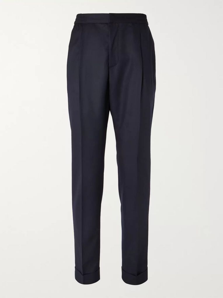 Officine Generale Navy Drew Tapered Wool-Flannel Trousers