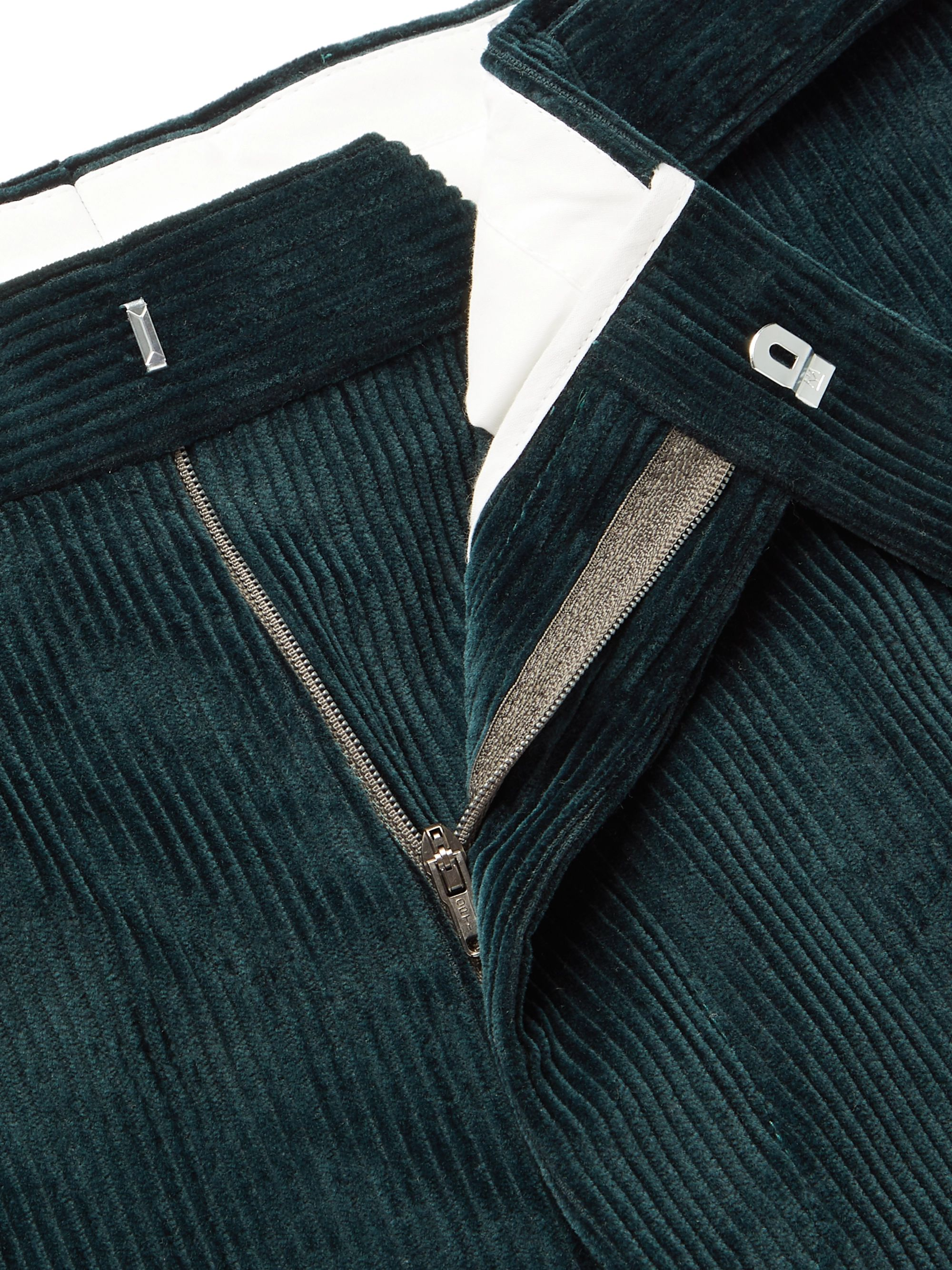 Officine Generale Dark-Green Owen Tapered Cotton-Corduroy Suit Trousers