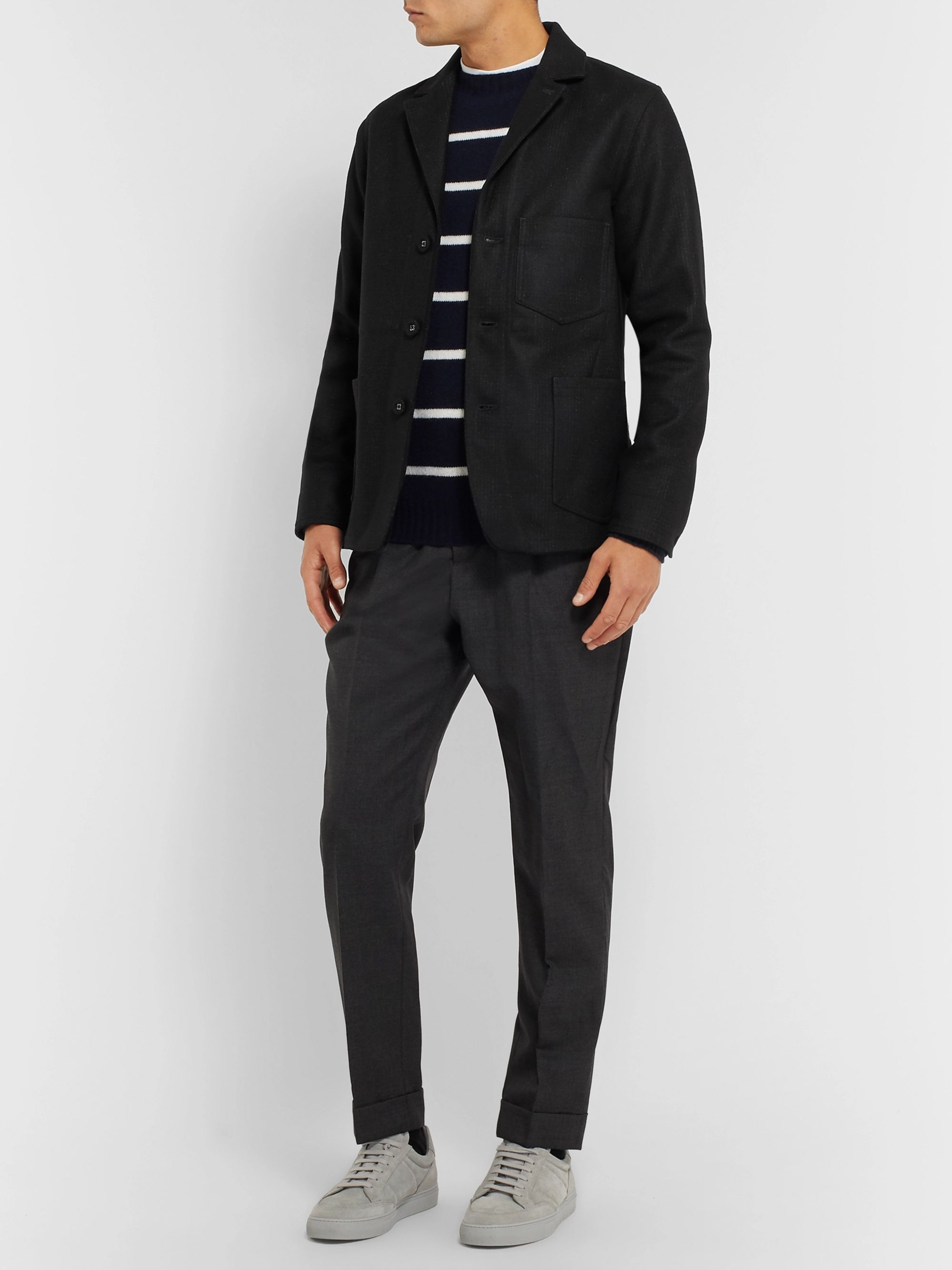 Officine Generale Charcoal Aris Slim-Fit Unstructured Checked Virgin Wool-Blend Blazer