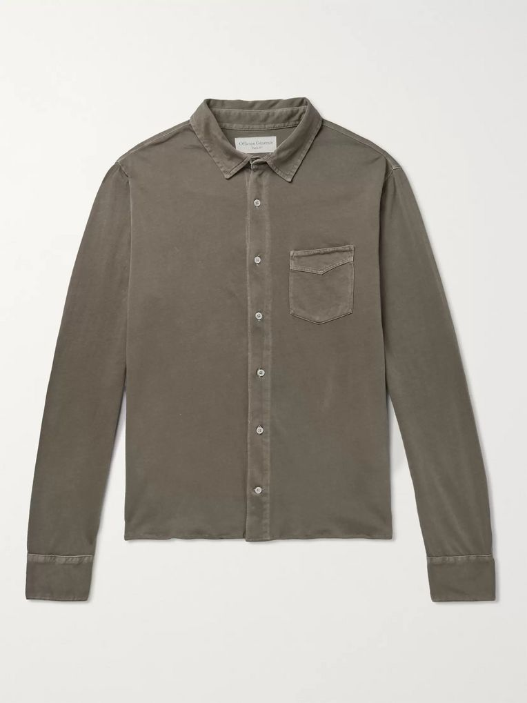 Officine Generale Slim-Fit Pigment-Dyed Cotton-Jersey Shirt