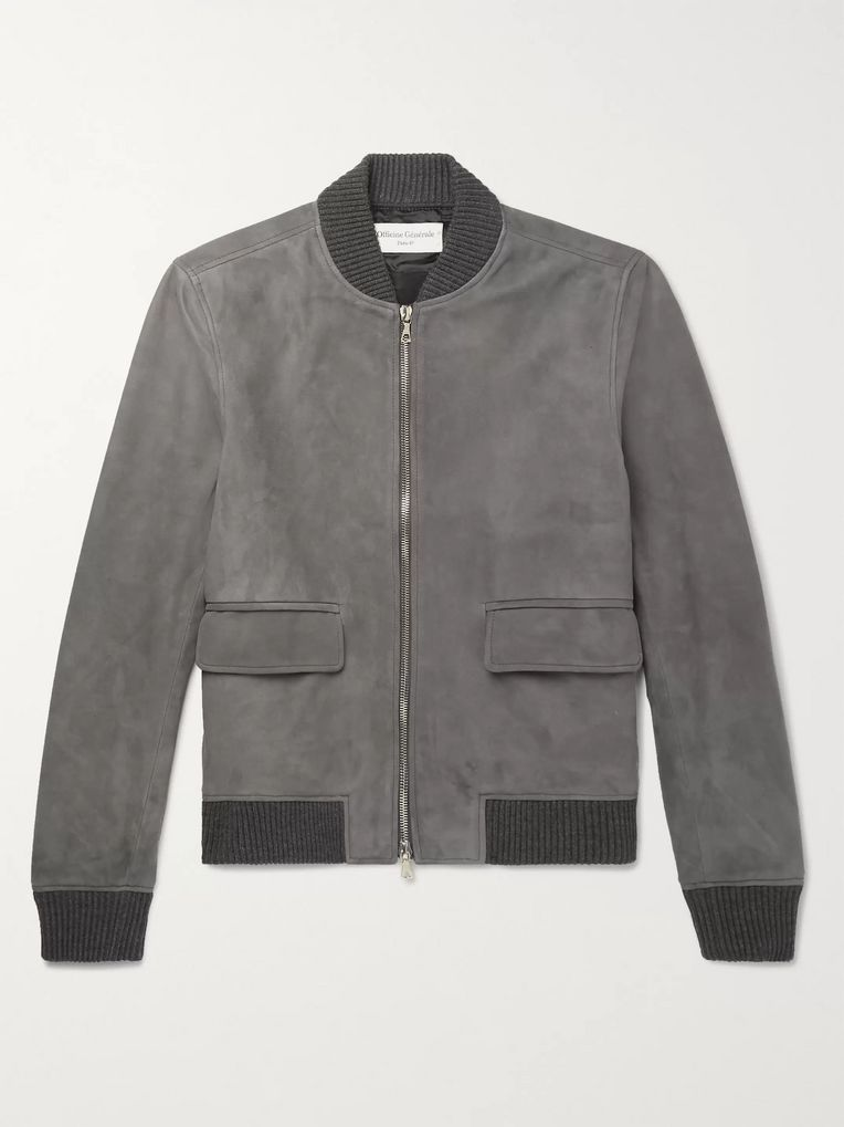 Officine Generale Floyd Slim-Fit Suede Bomber Jacket
