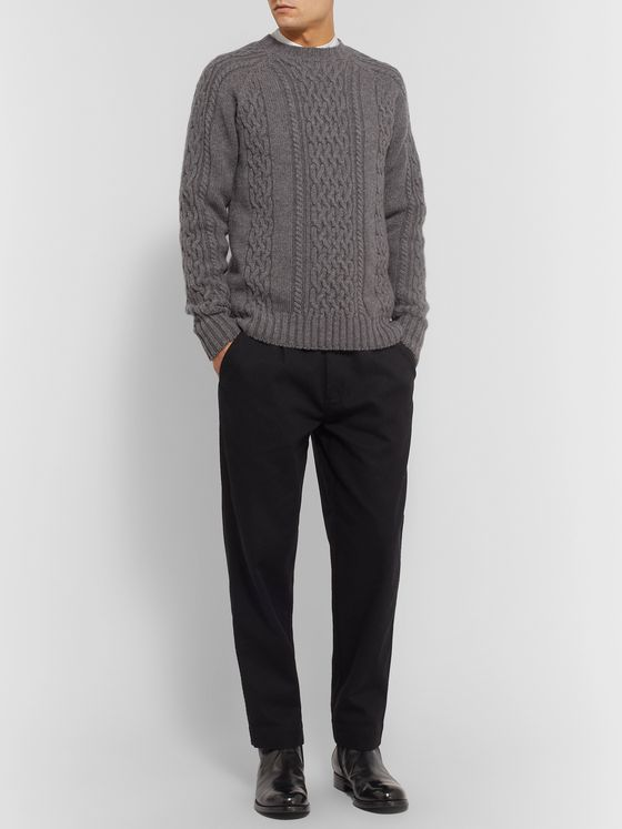 Officine Generale Cable-Knit Mélange Wool Sweater