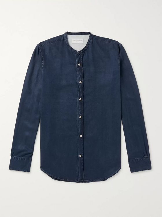 Officine Generale Grandad-Collar Lyocell Shirt