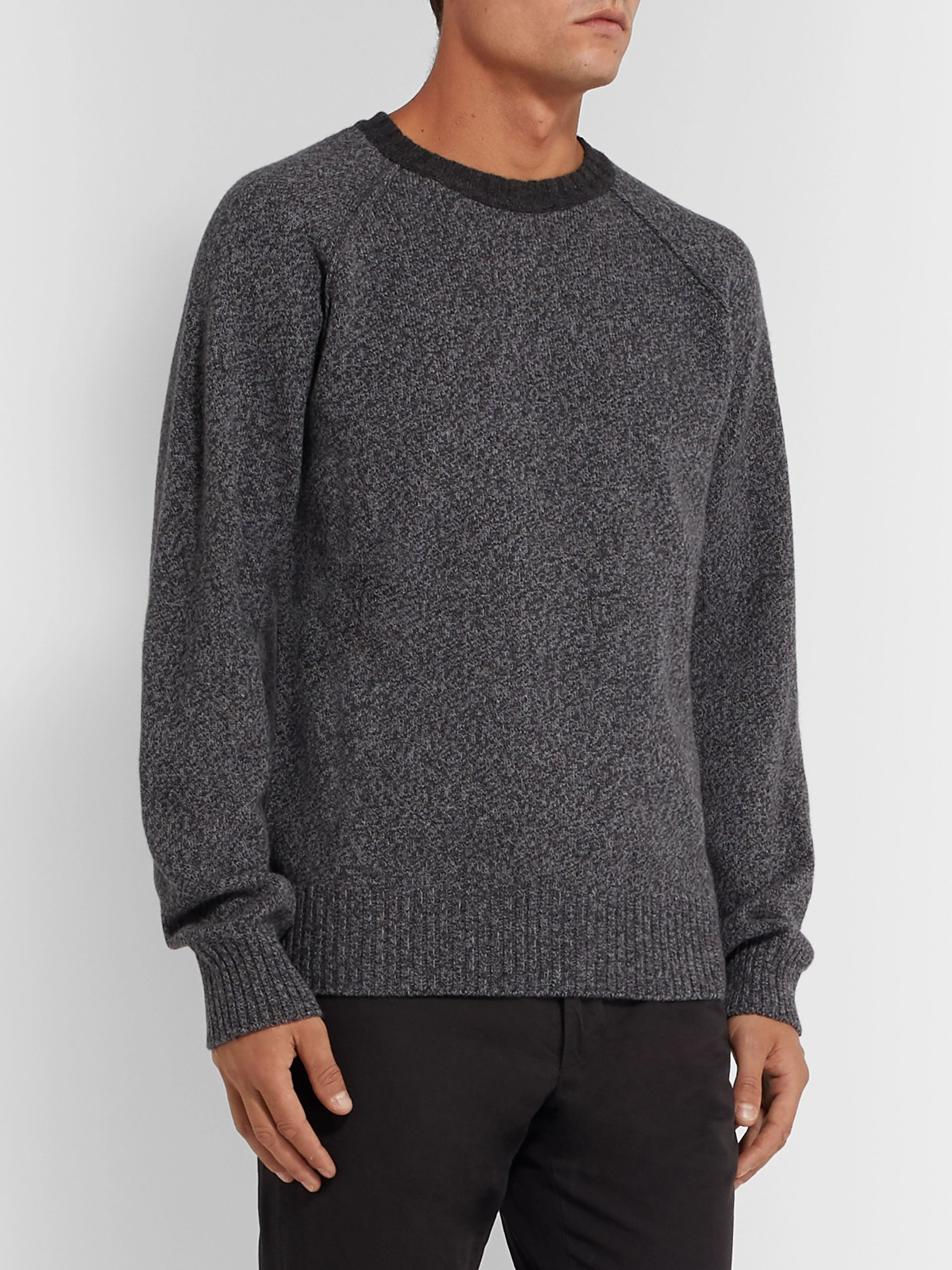 Officine Generale Lars Mélange Wool and Cashmere-Blend Sweater