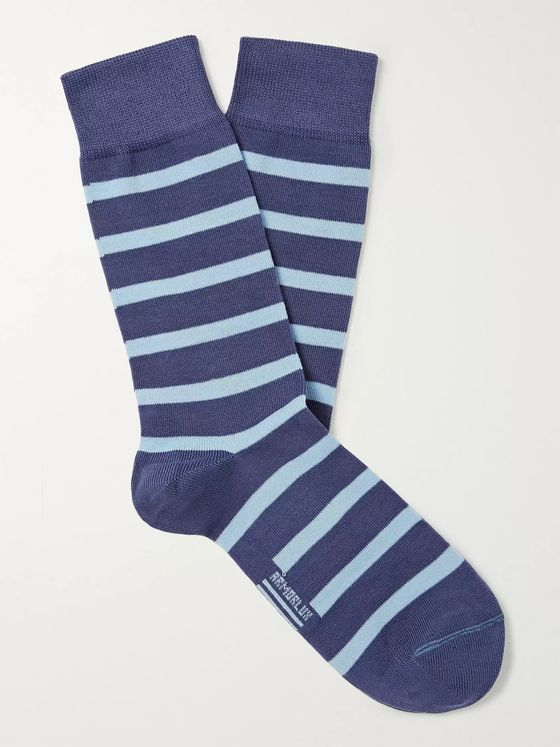 Armor Lux Striped Stretch-Cotton Blend Socks