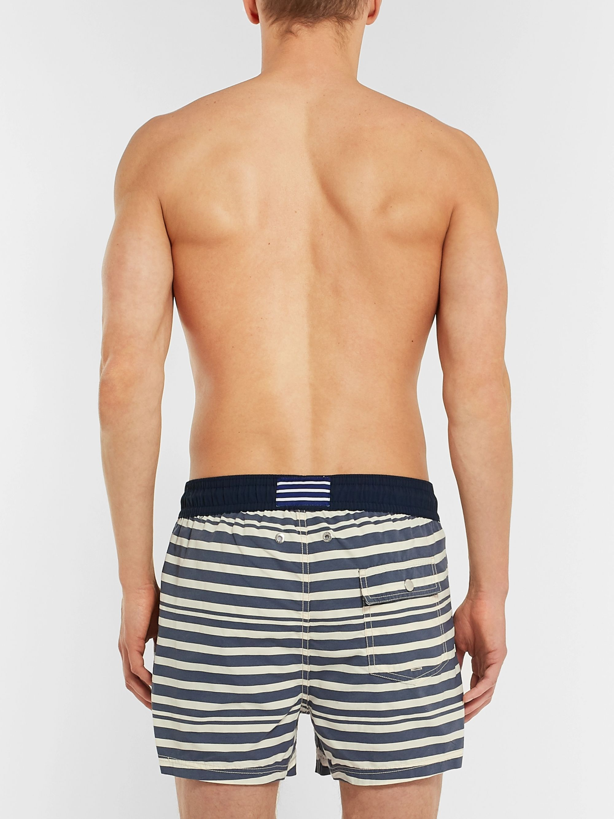 Atalaye Majolian Short-Length Striped Swim Shorts