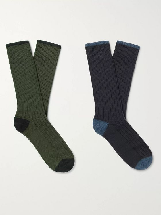 Corgi Two-Pack Ribbed Wool and Cotton-Blend Socks