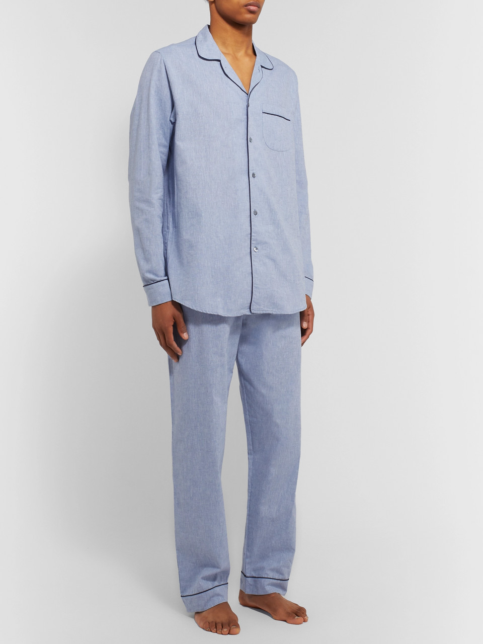 Desmond & Dempsey Piped Cotton and Linen-Blend Pyjama Shirt