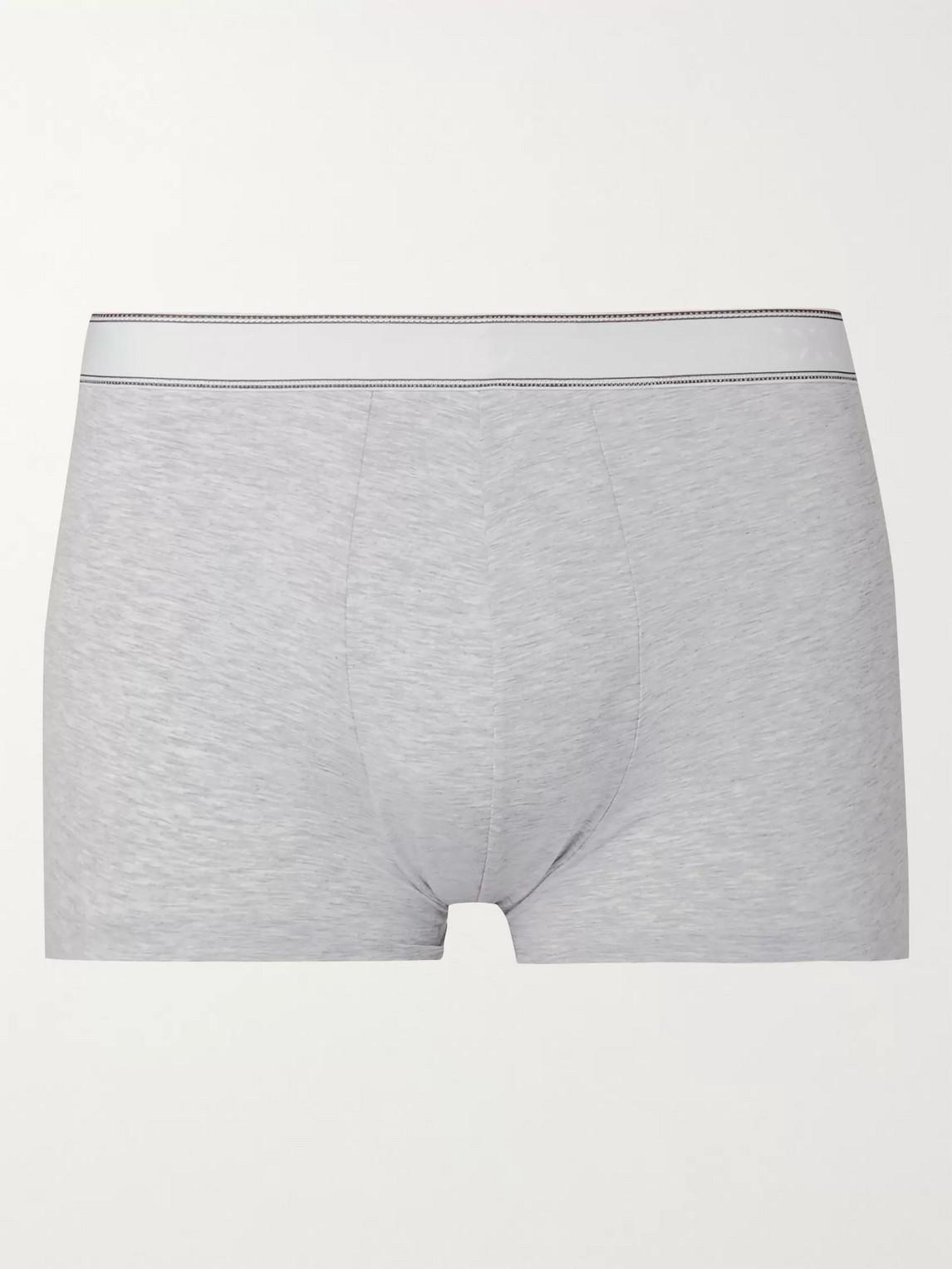 derek rose - ethan mã©lange stretch-cotton boxer briefs - gray