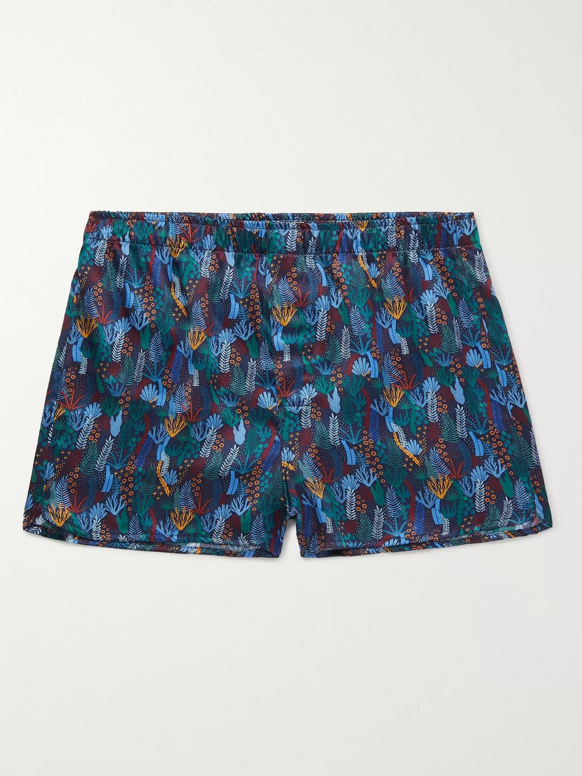 derek rose - brindisi printed silk boxer shorts - blue - s - men