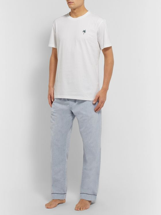 Desmond & Dempsey Cotton and Linen-Blend Pyjama Trousers