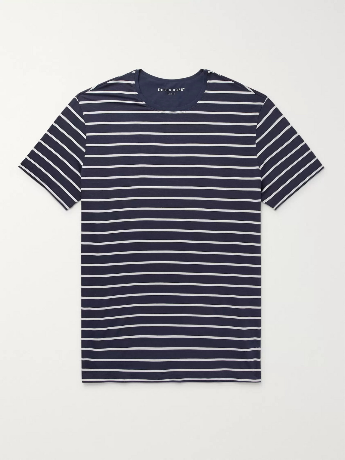 derek rose - alfie striped stretch-micro modal jersey t-shirt - blue - m - men
