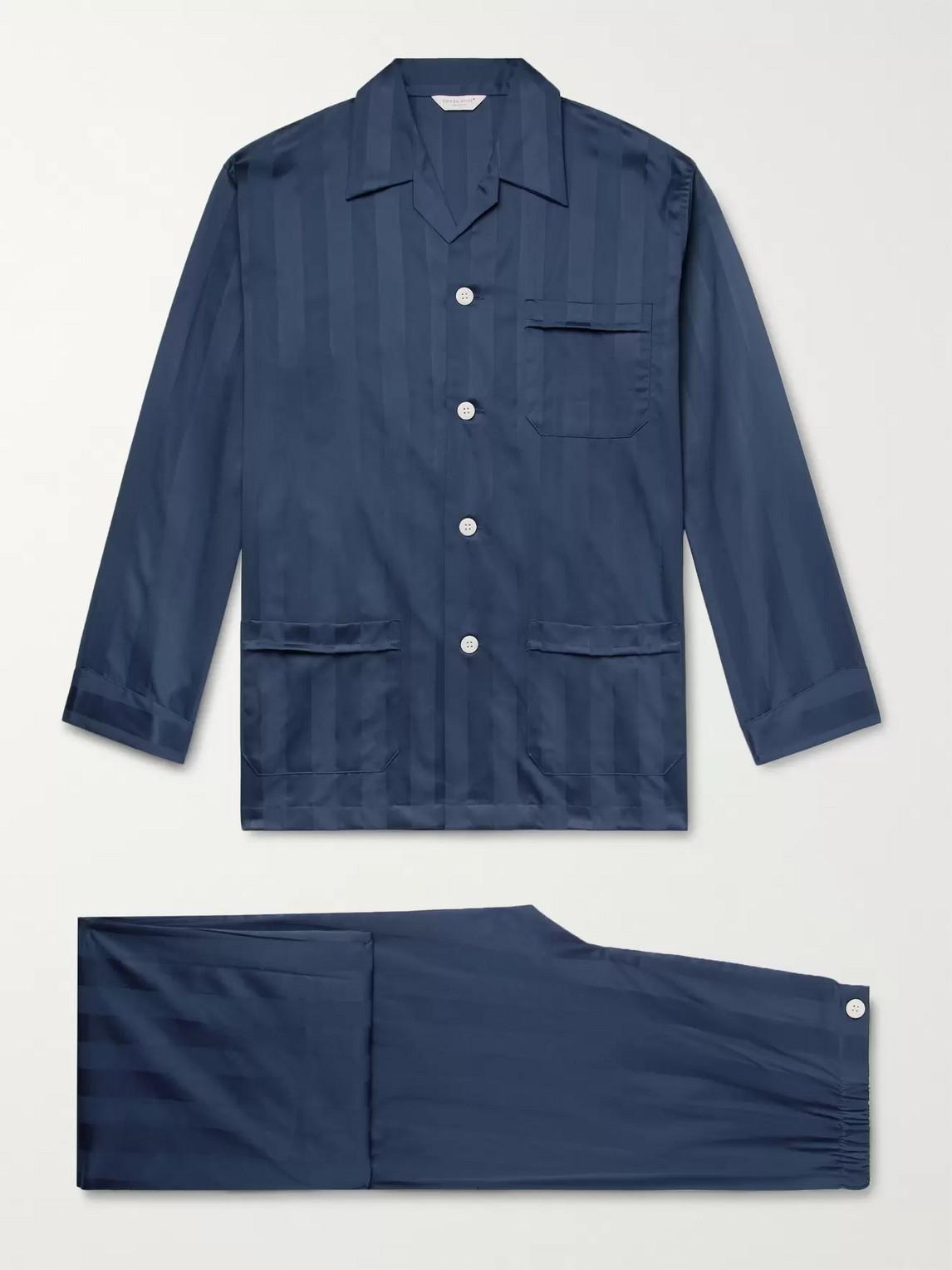 derek rose - lingfield satin-striped cotton pyjama set - blue