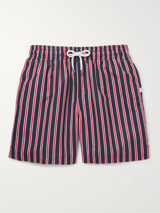 Derek Rose Bali Wide-Leg Mid-Length Striped Swim Shorts