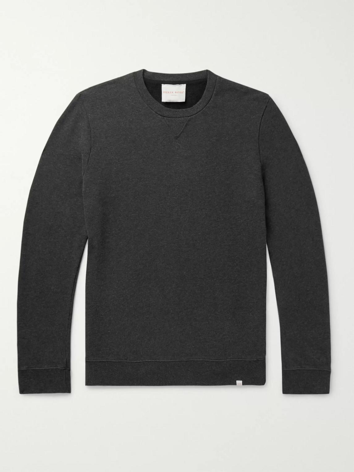 derek rose - devon brushed loopback cotton-jersey sweatshirt - gray