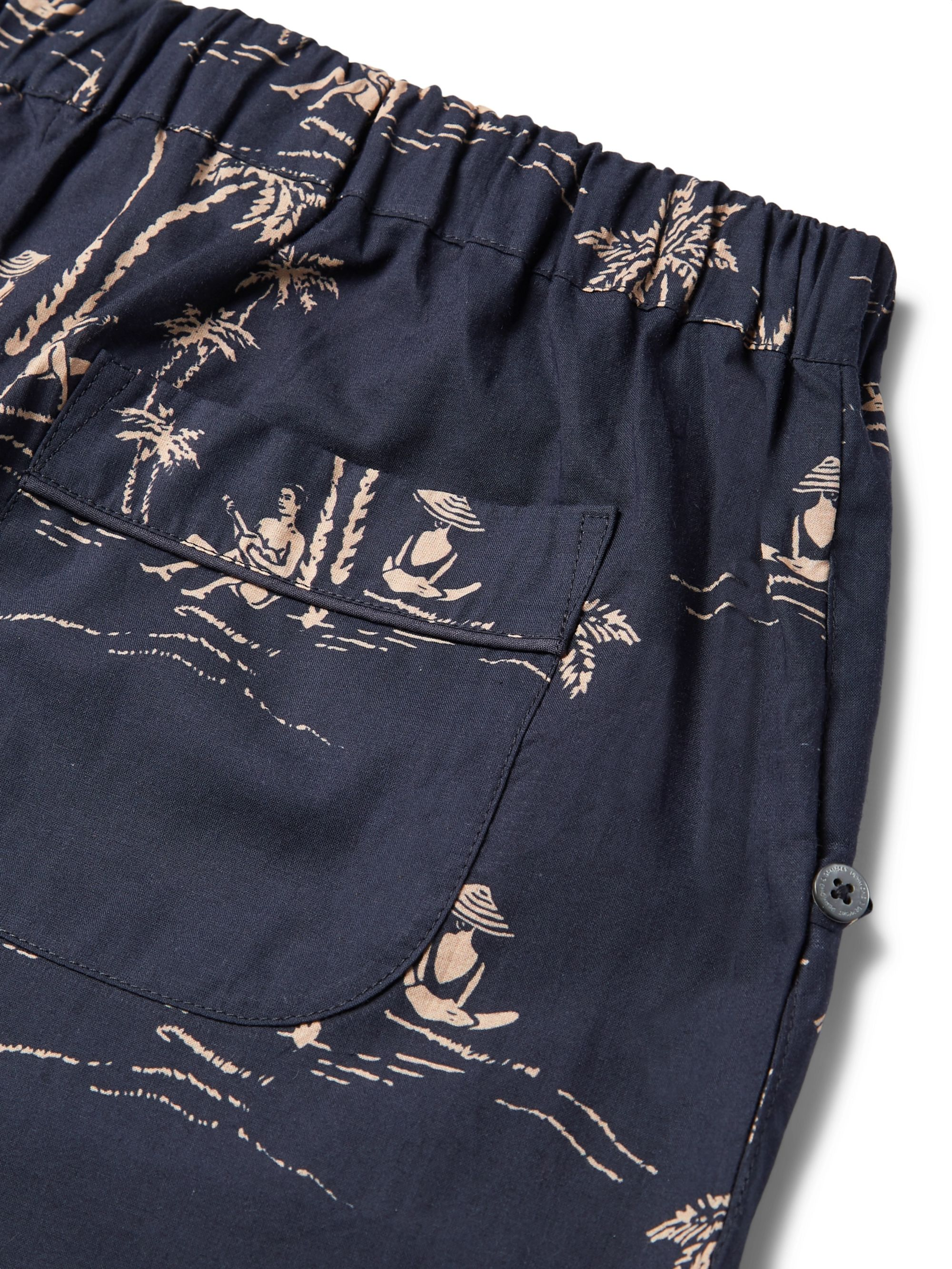 Desmond & Dempsey Printed Cotton Pyjama Shorts