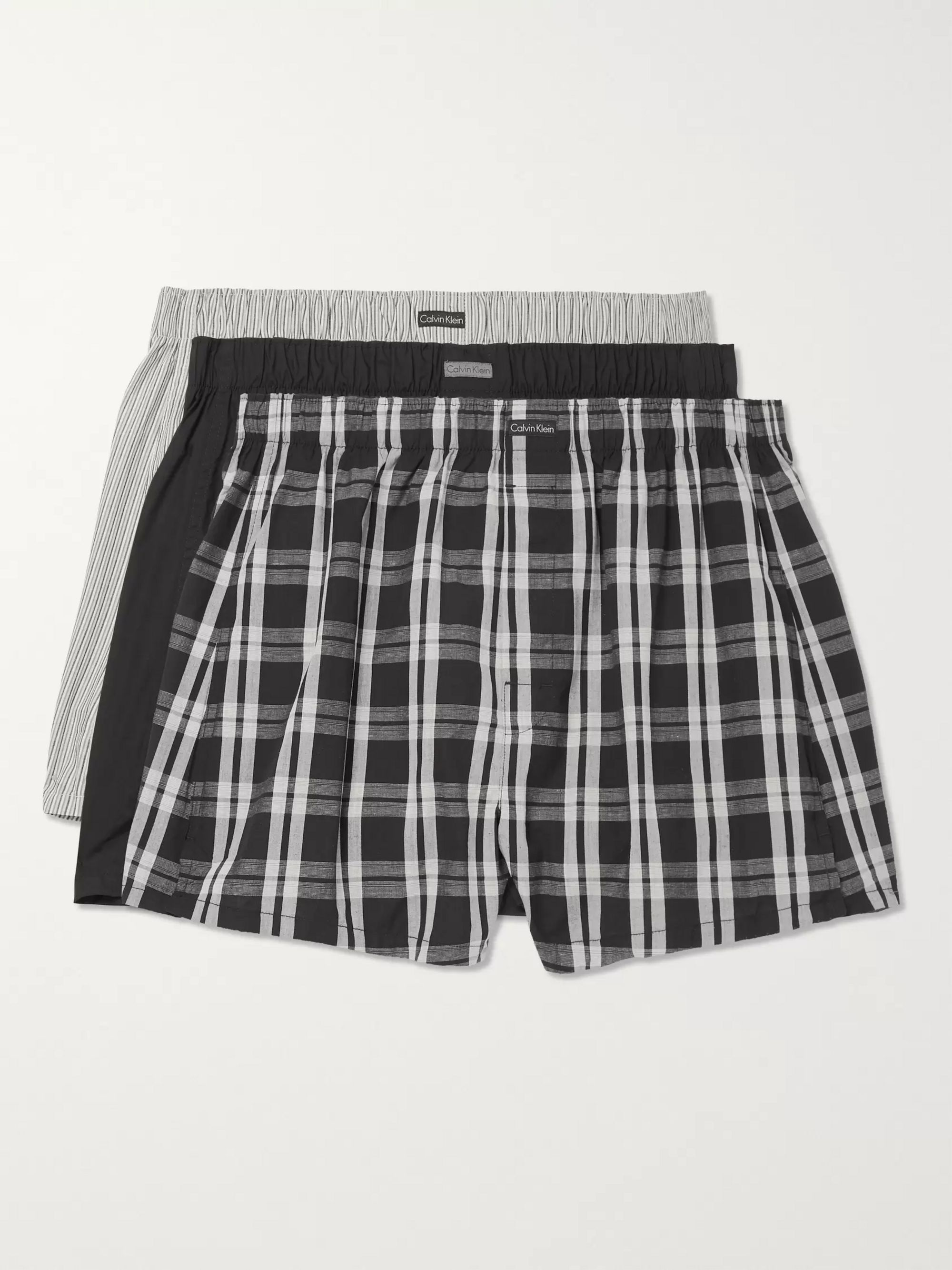 Calvin Klein Underwear Three-Pack Cotton-Blend Boxer Shorts