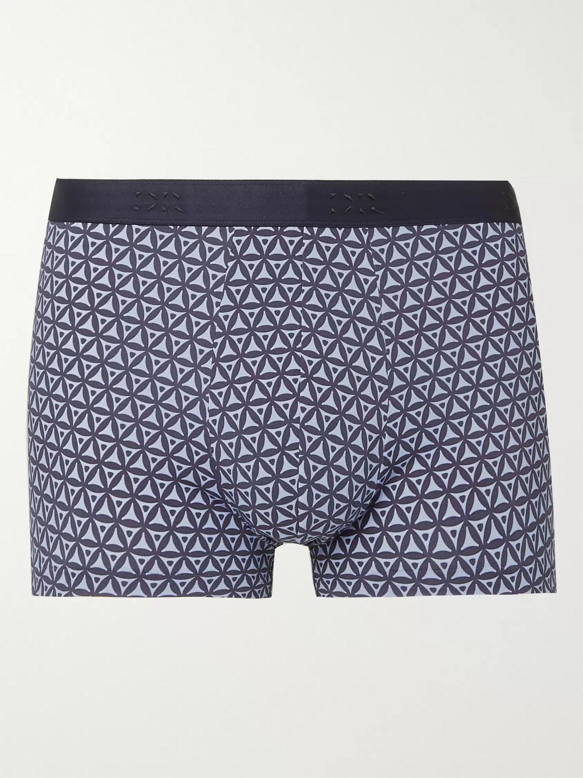 derek rose - printed stretch-cotton boxer briefs - blue - s - men