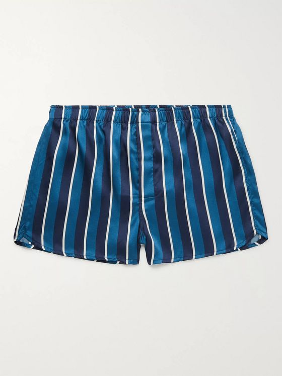 Derek Rose Bailey Striped Silk Boxer Shorts