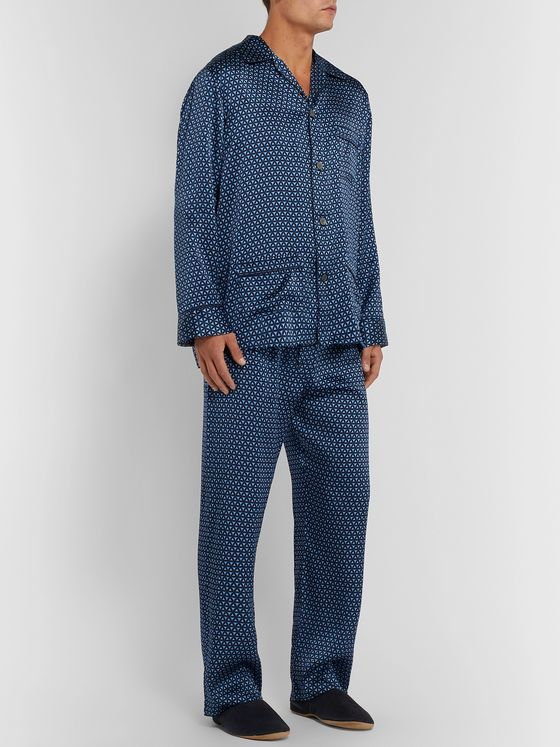Derek Rose Brindisi Printed Silk Pyjama Set