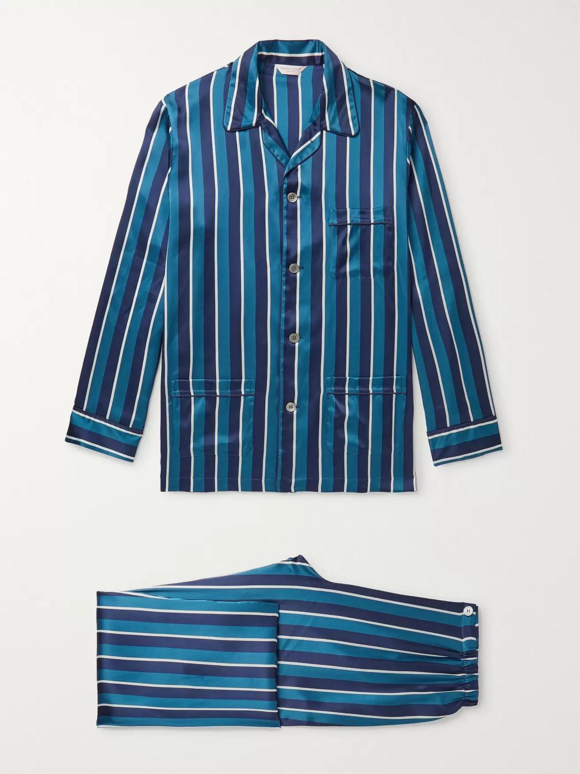 derek rose - brindisi striped silk pyjama set - blue - m - men