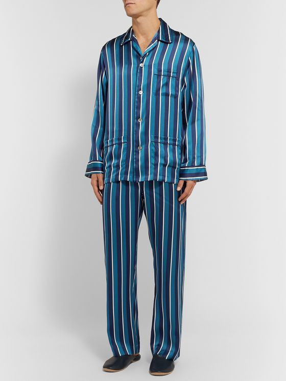 Derek Rose Brindisi Striped Silk Pyjama Set
