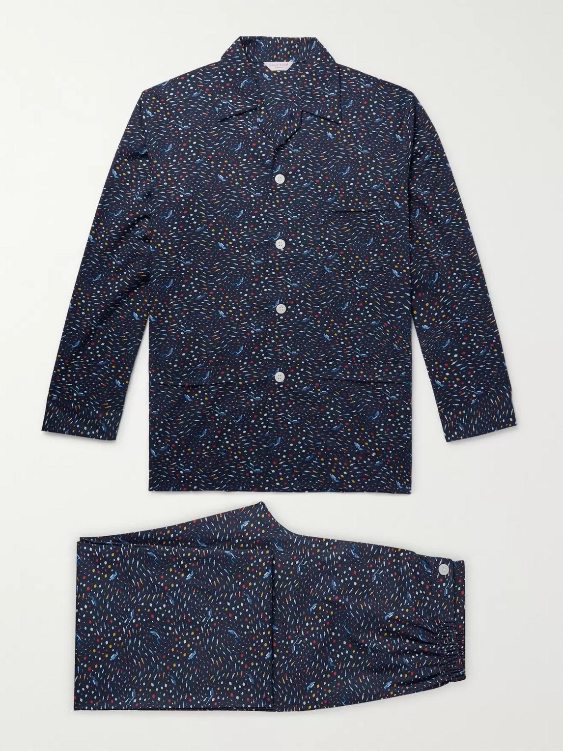 derek rose - ledbury printed cotton-poplin pyjama set - blue - s - men