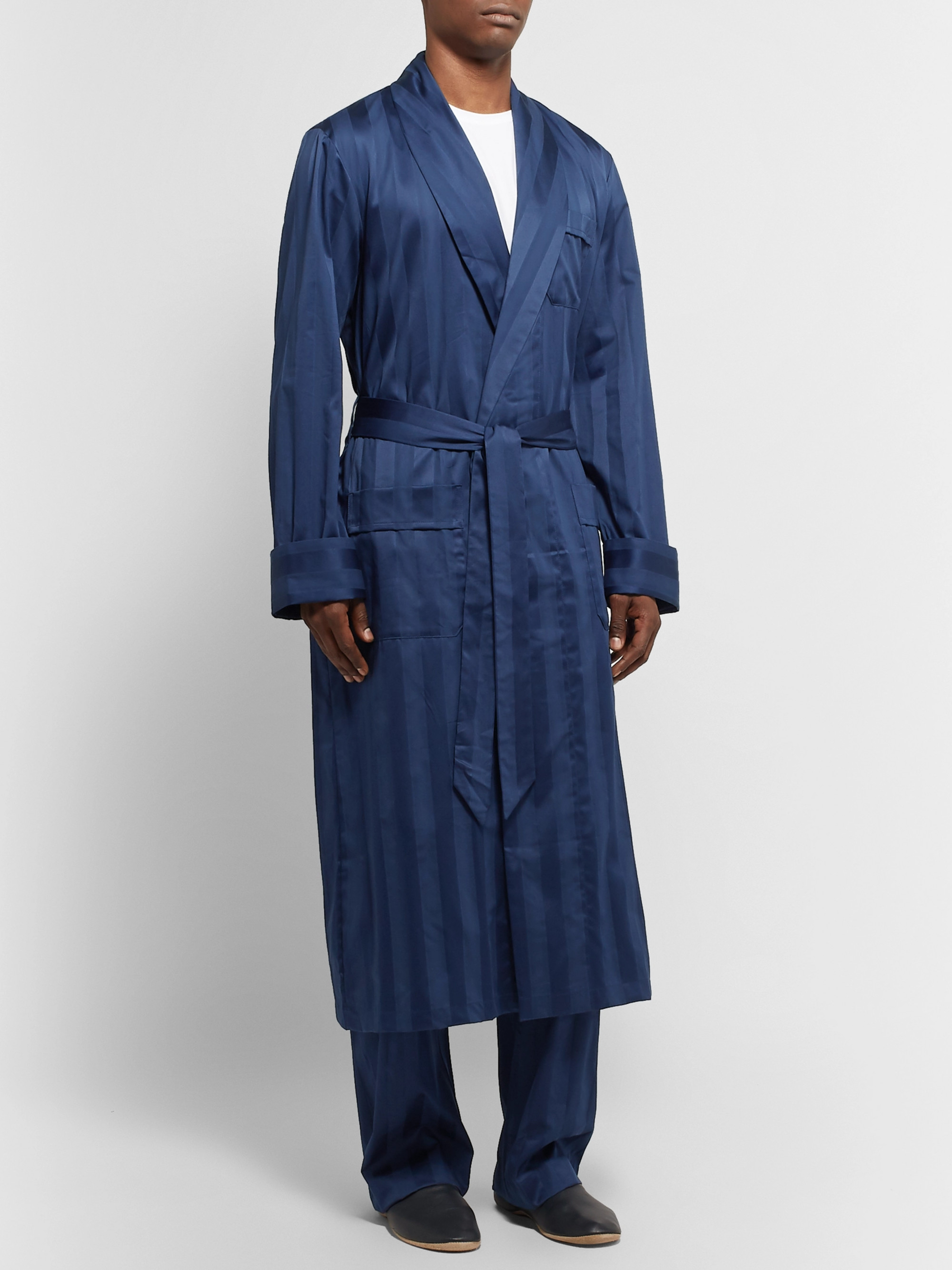 Derek Rose Lingfield Satin-Striped Cotton Robe
