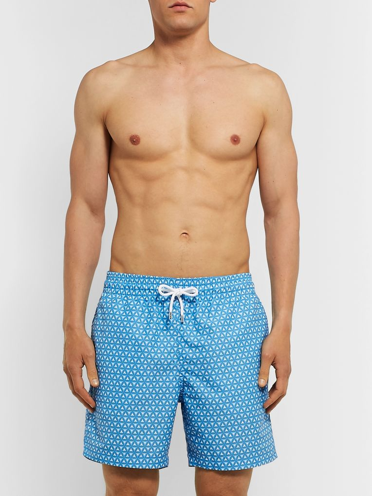Derek Rose Tropez Wide-Leg Mid-Length Printed Swim Shorts